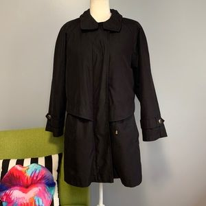 Gallery Black Convertible Long Trench Coat